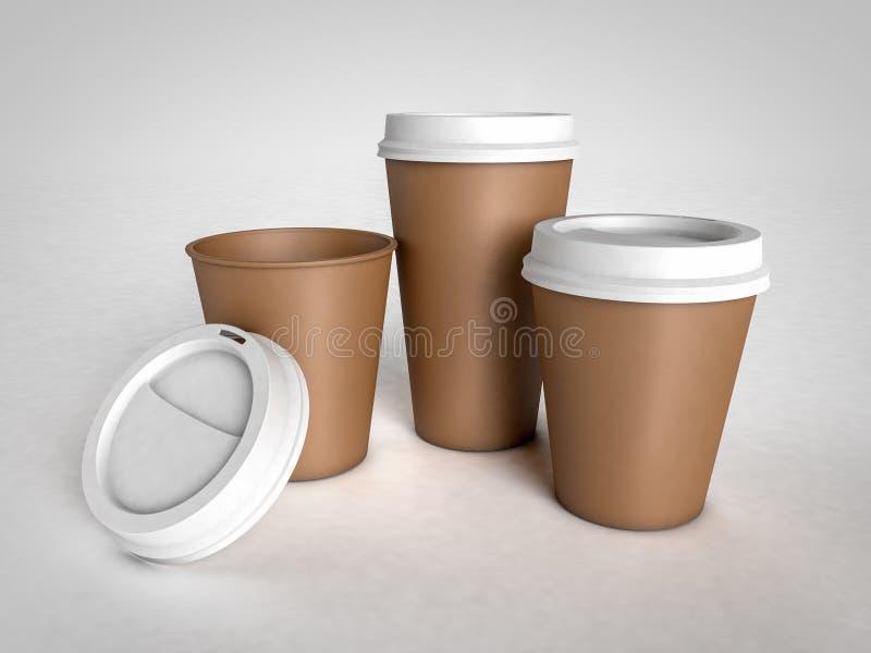 Tres tazas de papel de diverso tamaño para el café con los casquillos plásticos encendido ilustración del vector