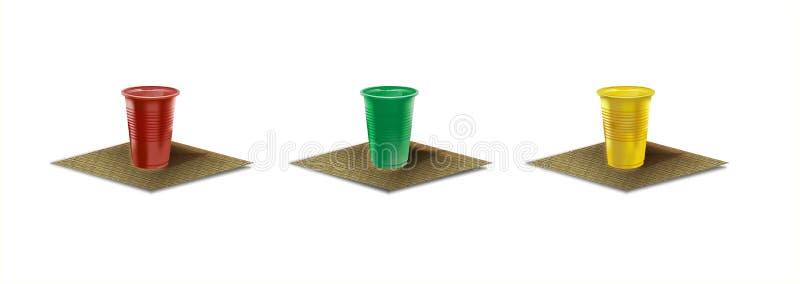 Tres tazas plásticas disponibles imagen de archivo libre de regalías