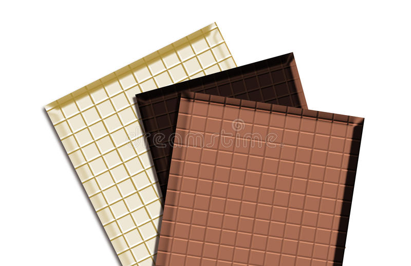 Tres tipos chocolate ilustración del vector