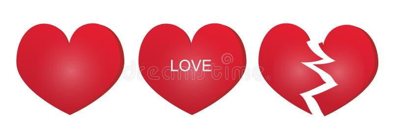 Tres tipos de corazón rojo ilustración del vector