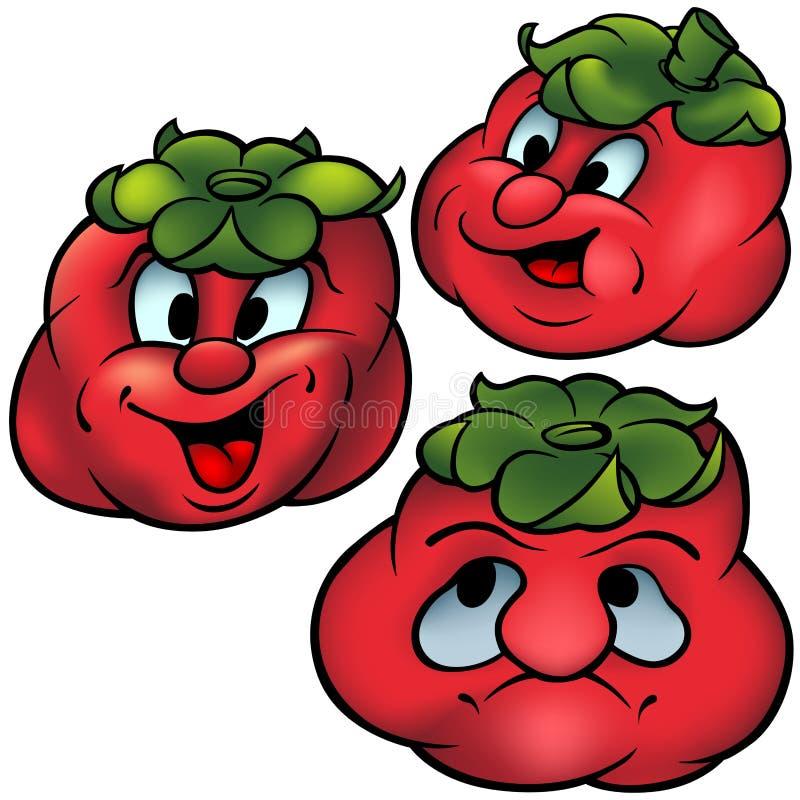 Tres tomates stock de ilustración