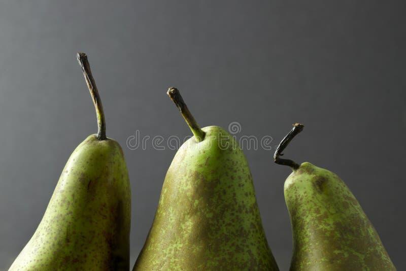 Tres tops y tallos de la pera en un fondo oscuro foto de archivo libre de regalías