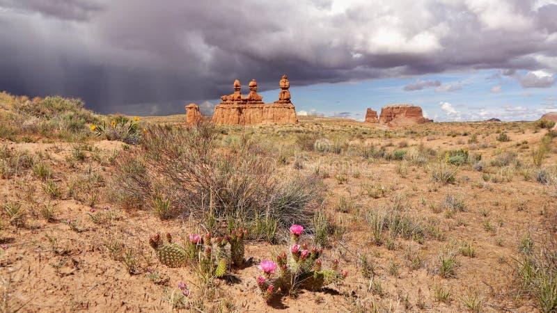 Tres torres de rocas y de nubes de tormenta en el horizonte foto de archivo