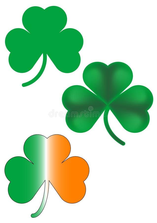 Tres tréboles irlandeses ilustración del vector