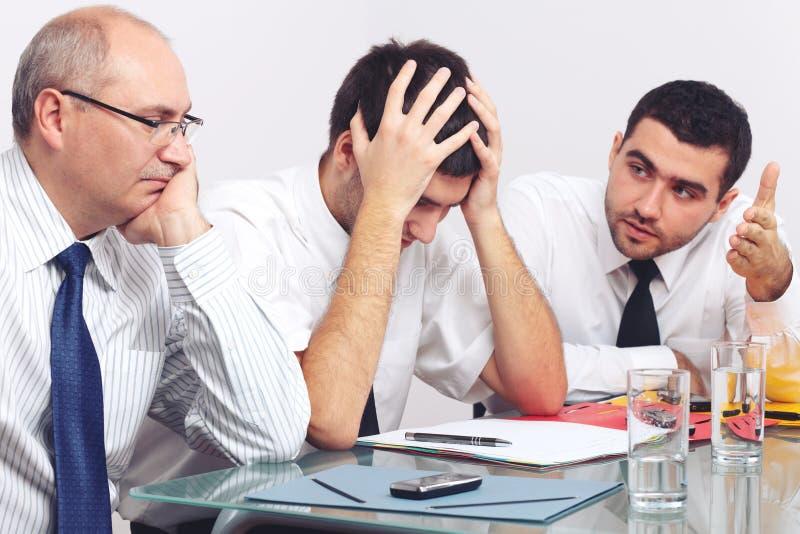 Tres tristes y hombre de negocios deprimido fotos de archivo libres de regalías