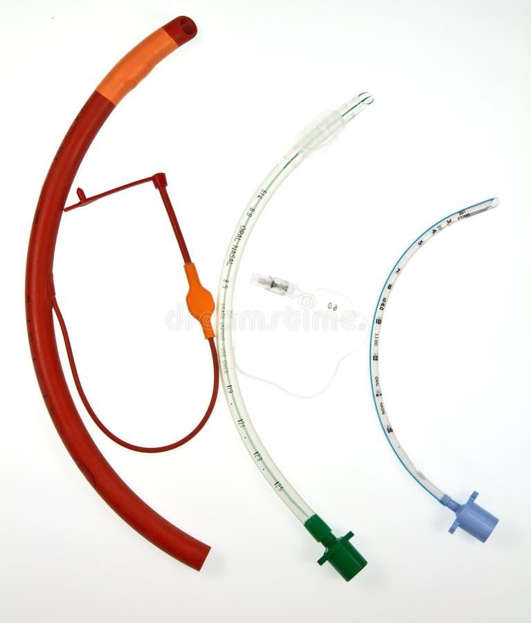 Tres tubos endotraqueales de varios diseños imágenes de archivo libres de regalías