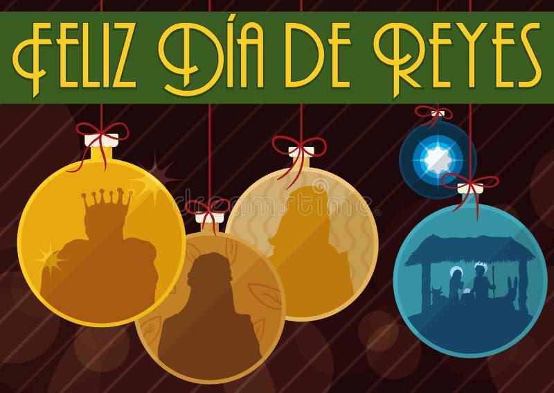Tres unos de los reyes magos tradicionales y la escena de la natividad les gusta la bola del ` s del árbol de navidad, ejemplo de ilustración del vector