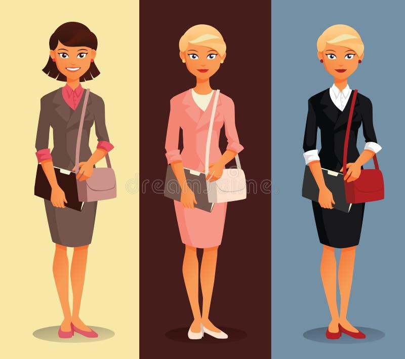 Tres variantes de una empresaria con los diversos peinados y colores de la ropa imagenes de archivo