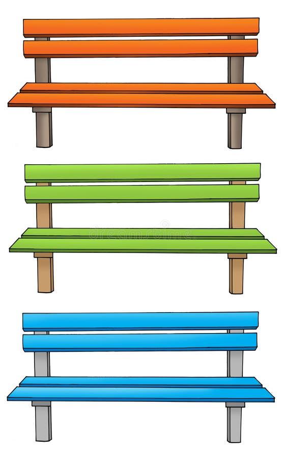 Tres varios bancos ilustración del vector