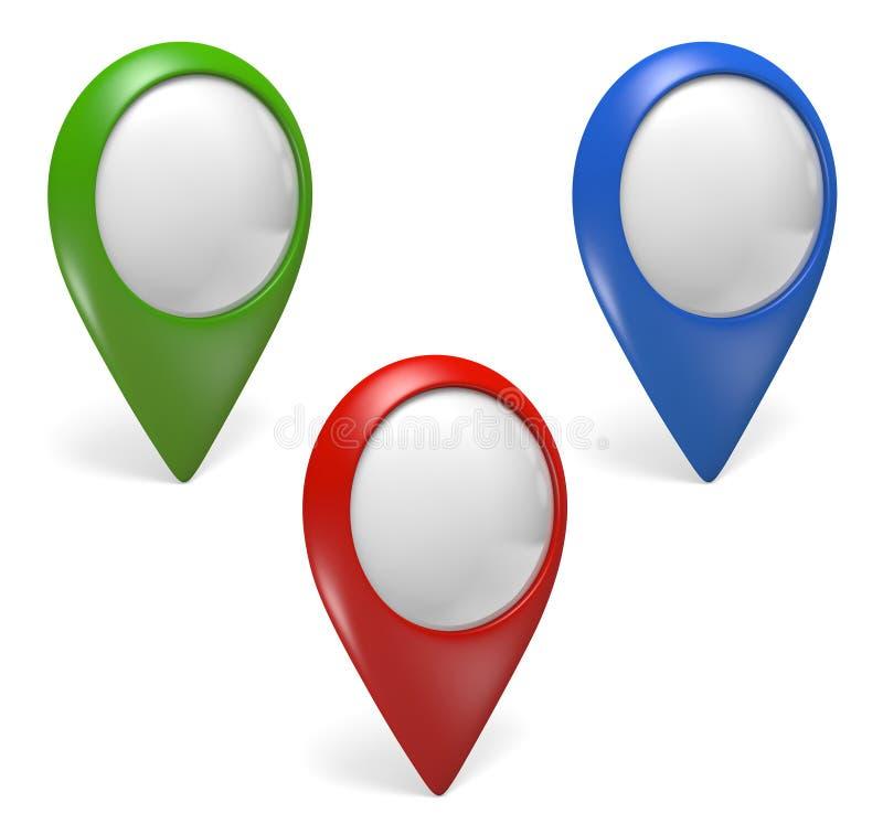 Tres verdes, azules, y rojos iconos del indicador de GPS para los mapas virtuales en un fondo blanco, representación 3D stock de ilustración