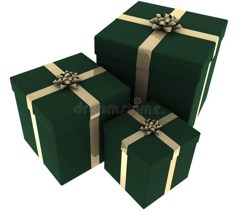 Tres verdes y presentes del oro stock de ilustración