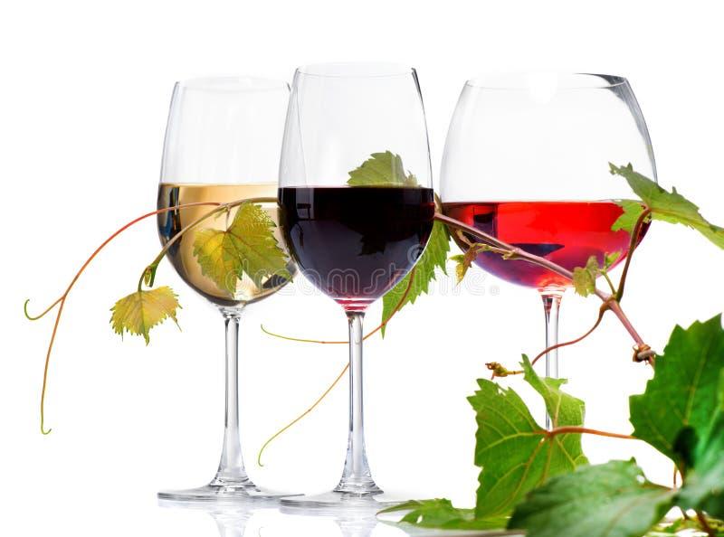 Tres vidrios de vino imagen de archivo