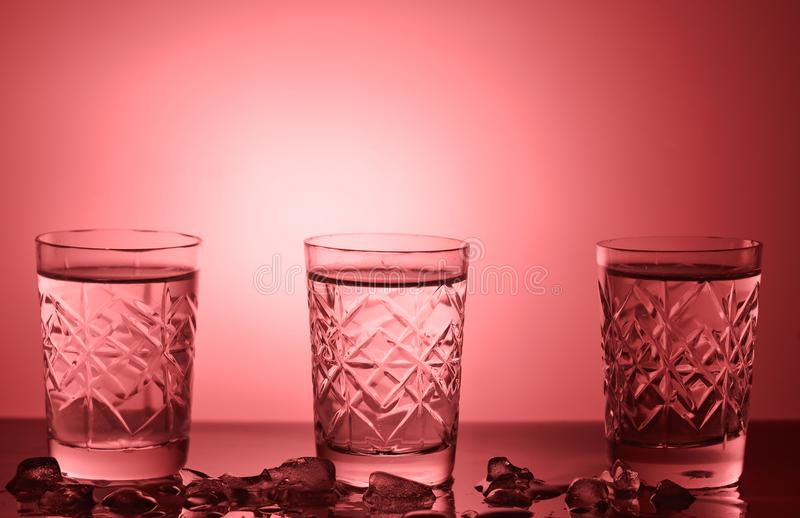 Tres vidrios de vodka fotos de archivo libres de regalías