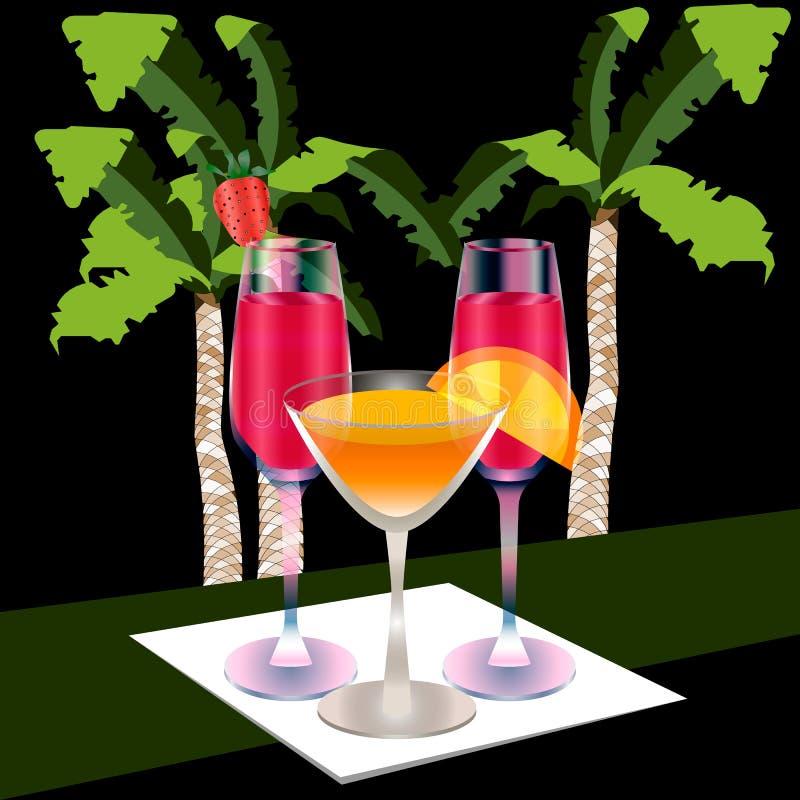 Tres vidrios llenos en una servilleta, fondo de la palma stock de ilustración