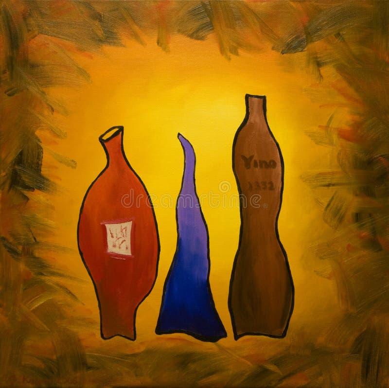 Tres vinos ilustración del vector