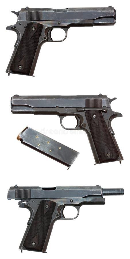 Tres vistas de una pistola militar foto de archivo libre de regalías