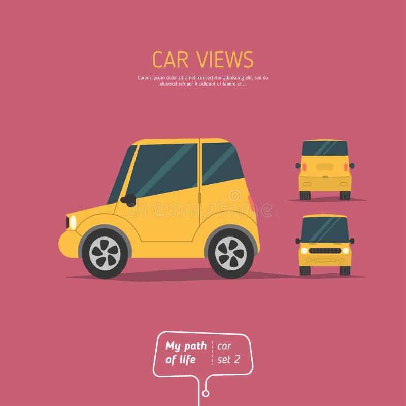 Tres vistas del coche libre illustration