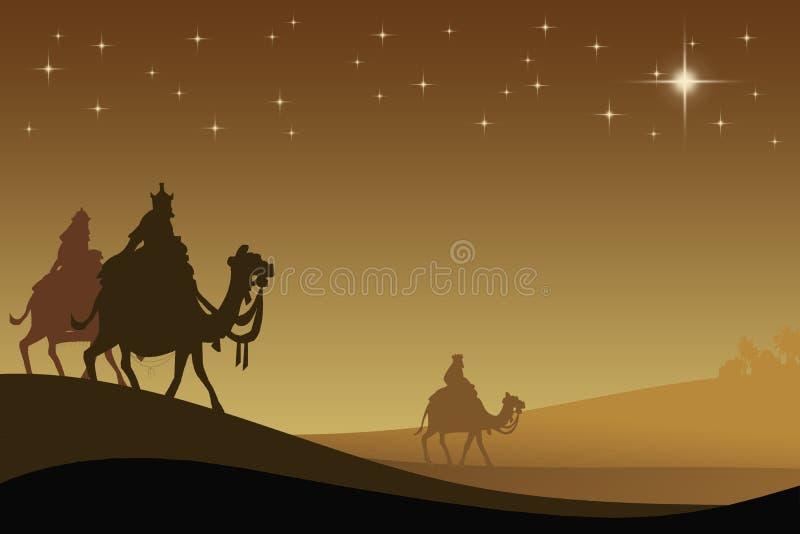 Tres wisemans y la estrella ilustración del vector