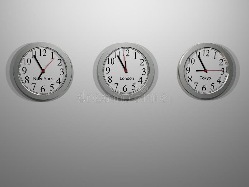 Tres zonas horarias fotografía de archivo