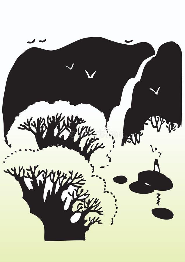 Tress in campagna illustrazione vettoriale