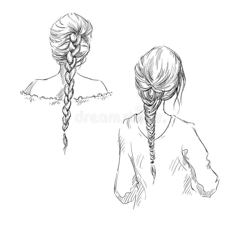 tresses coiffure Retrait de vecteur illustration libre de droits