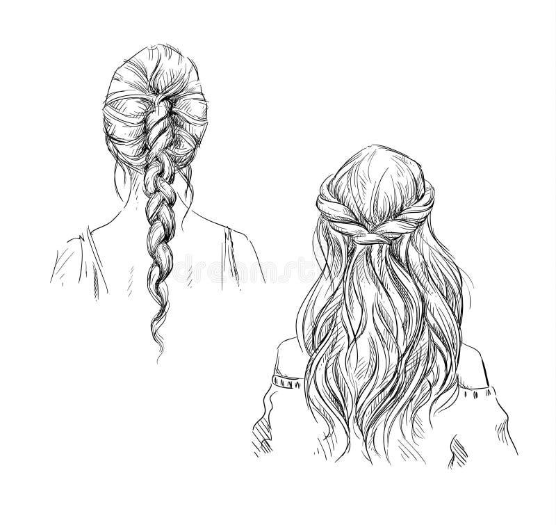 tresses coiffure Retrait de vecteur illustration de vecteur