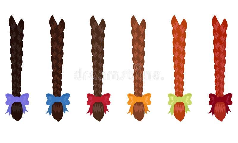 Tresses femelles de diverses couleurs sur le fond blanc illustration stock