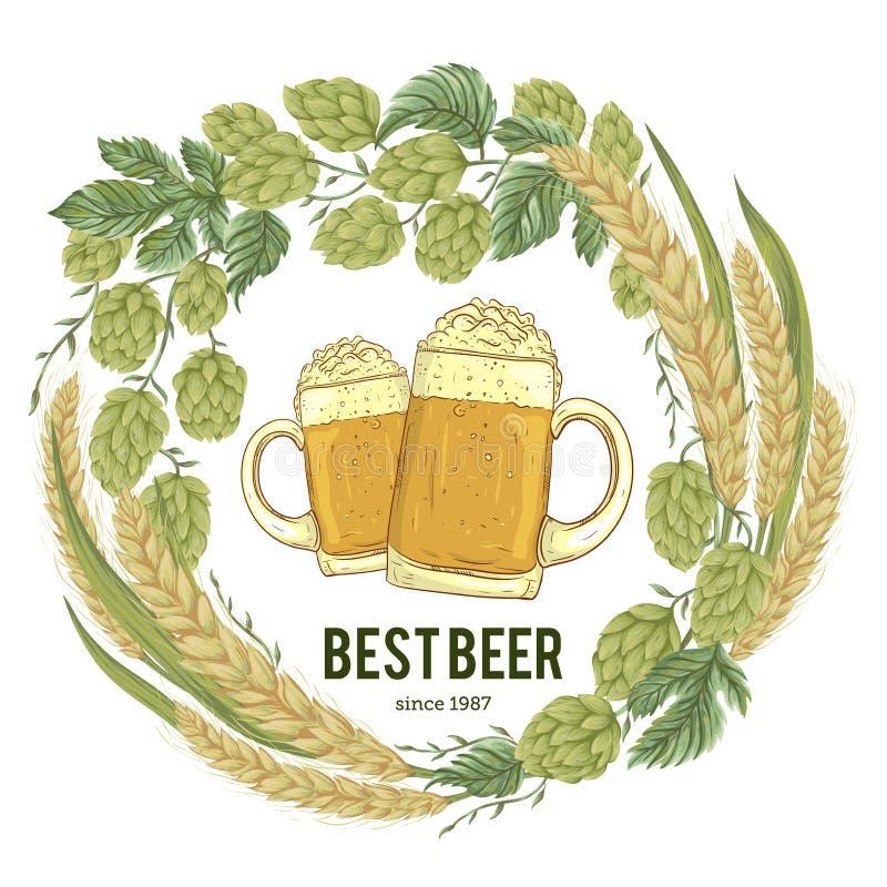 Tressez avec les houblon, le blé et les verres de bière Composition florale avec des cônes, des feuilles et des branches illustration de vecteur