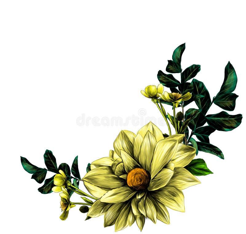 Tressez sous forme de bouquet des brindilles de dahlia de fleur avec des feuilles et fleurissez des renoncules illustration de vecteur