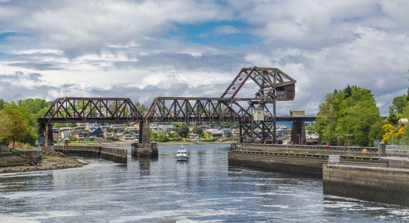 Trestle Bridge Over Salmon Bay royalty free stock photo