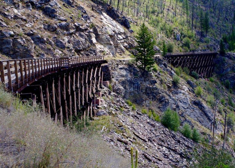 Trestle Bridges Kelowna Canada. Hiking trail on refurbished railway trestle bridges in Kelowna Canada stock photo