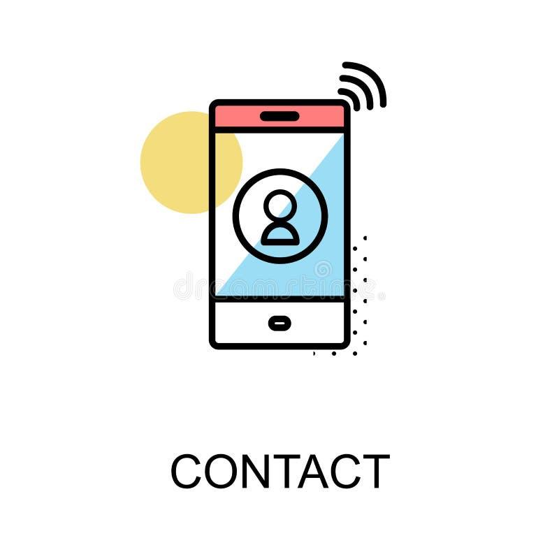 Treten Sie Ikone und mit Mobiltelefon auf weißem Hintergrund mit Illustration in Verbindung lizenzfreie abbildung