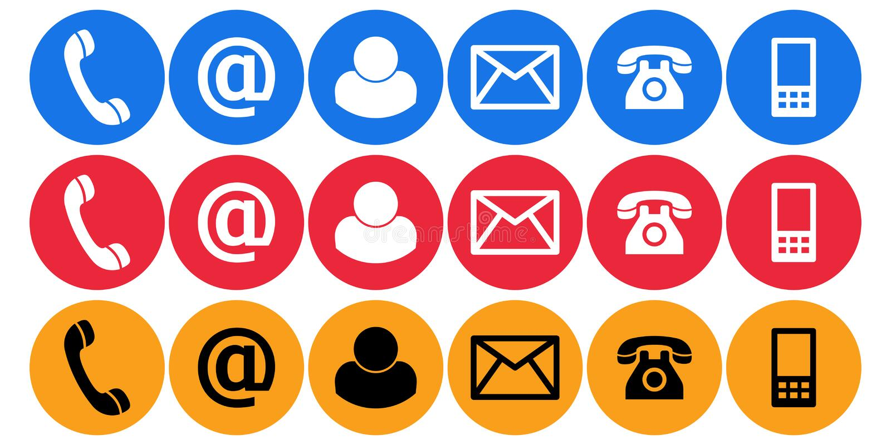 Treten Sie mit uns Anrufpost-Ebenenikonen in Verbindung stock abbildung