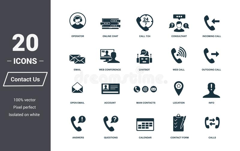 Treten Sie mit uns die eingestellten Ikonen in Verbindung Erstklassige Qualitäts-Symbol-Sammlung Treten Sie mit uns in Verbindung lizenzfreie abbildung