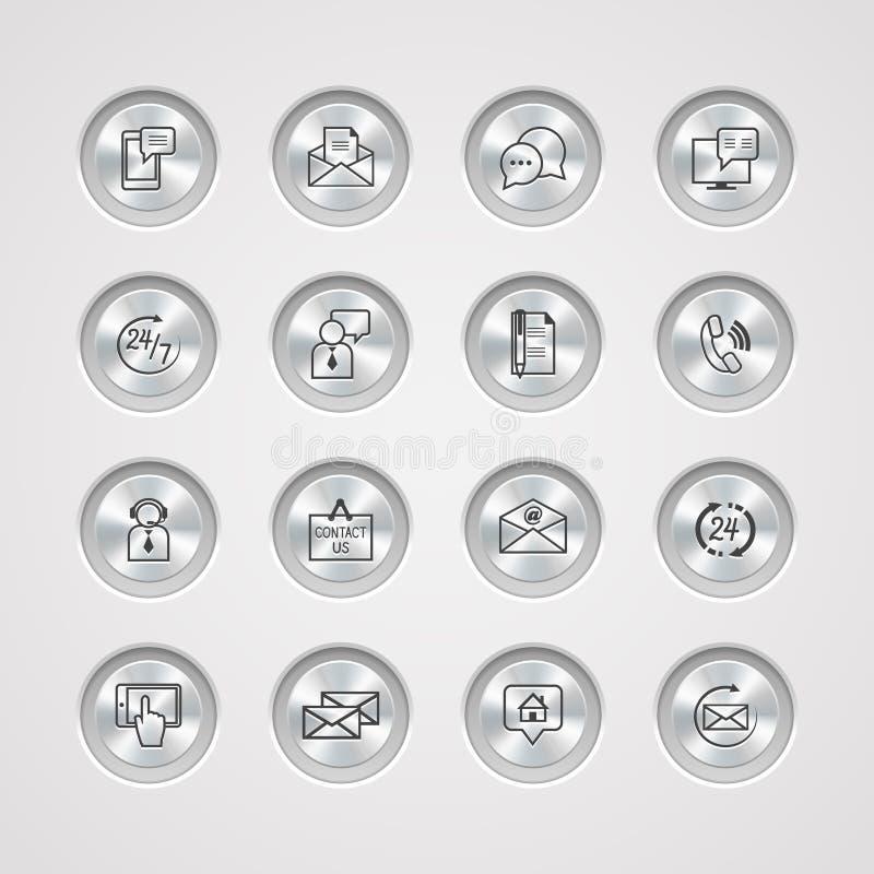 Treten Sie mit uns die eingestellten Service-Ikonen in Verbindung lizenzfreie abbildung