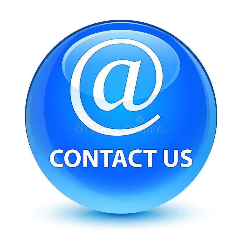 Treten Sie mit uns (E-Mail-Adresse Ikone) runder Knopf des glasigen Cyanblaus in Verbindung stock abbildung