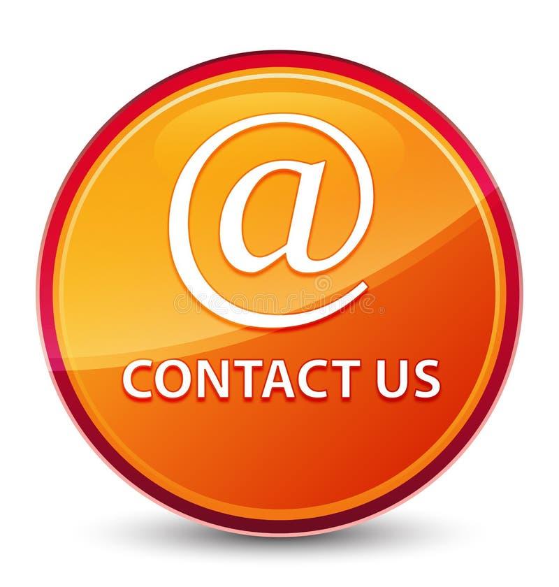 Treten Sie mit uns (E-Mail-Adresse Ikone) spezieller glasiger orange runder Knopf in Verbindung vektor abbildung