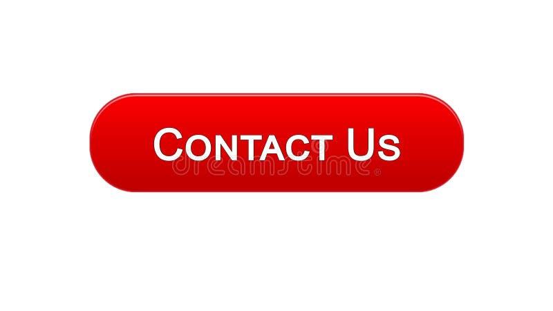 Treten Sie mit uns Geschäftskommunikation des Netzschnittstellenknopfes rote Farb, Hilfe, Feedback in Verbindung stock abbildung