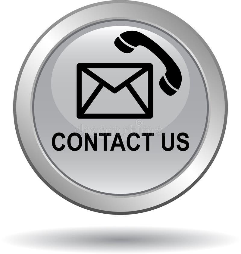 Treten Sie mit uns Knopfpostanruf-Ikonengrausilber in Verbindung vektor abbildung
