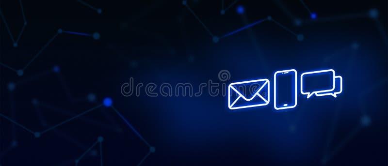 Treten Sie mit uns, Kontakt, E-Mail-Kontakt, Anruf, Mitteilung, Landungsseite, Hintergrund, Deckblatt, Ikone in Verbindung lizenzfreie abbildung