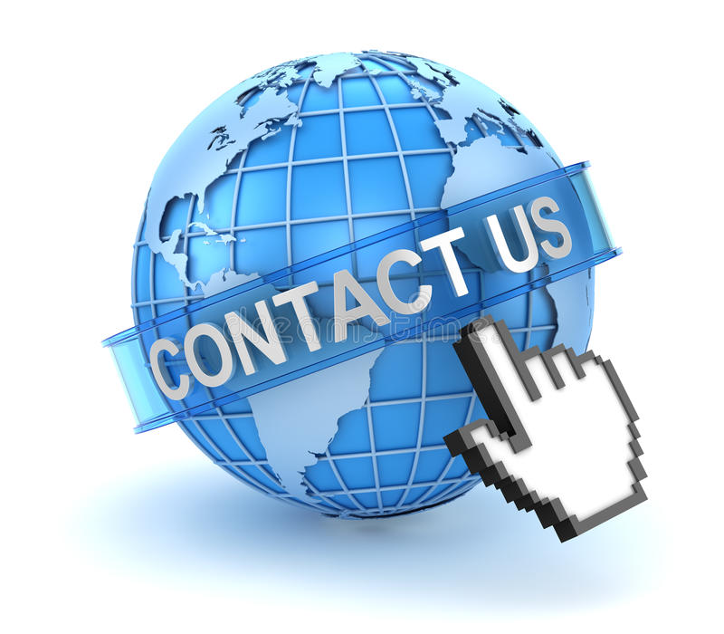 Treten Sie mit uns Konzept mit Welt- und Hand-Cursor in Verbindung lizenzfreie abbildung
