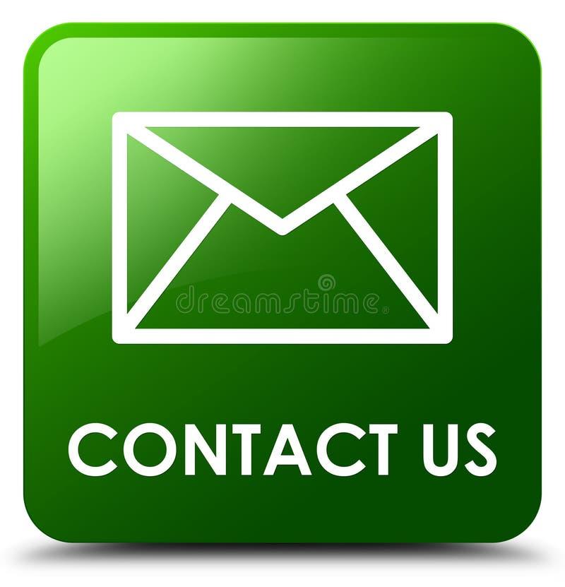 Treten Sie mit uns quadratischer Knopf (des E-Mail-Ikonen) Grüns in Verbindung stock abbildung