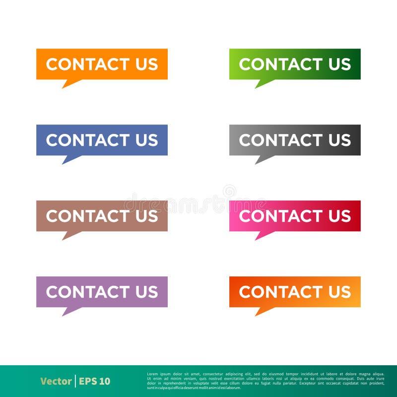 Treten Sie mit uns in Verbindung, Aufkleber-Ikonen-Vektor-Schablonen-Illustrations-Entwurf zu knöpfen Vektor ENV 10 stock abbildung