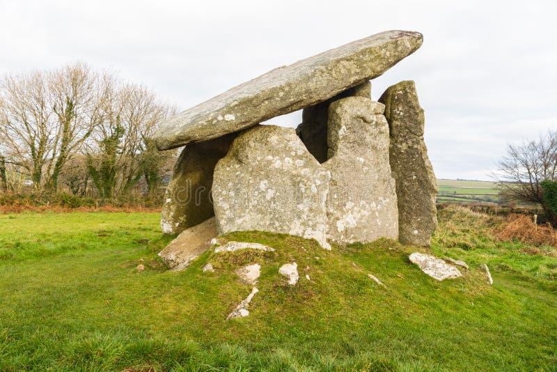 Trethevy圈环巨石坟茔在康沃尔郡 免版税库存照片