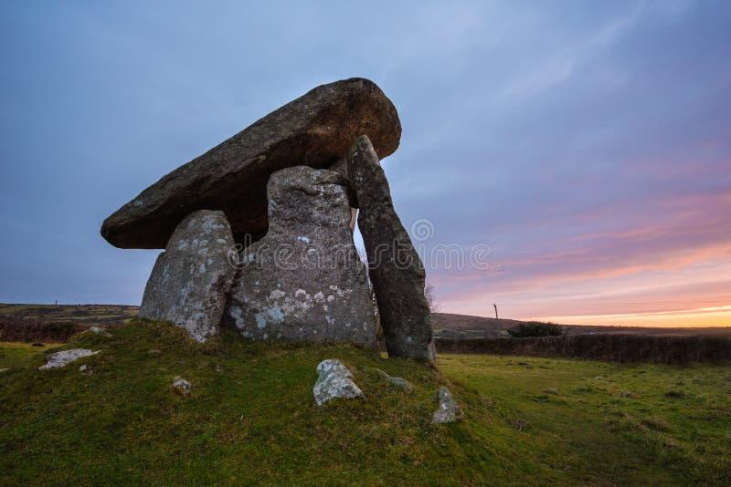 Trethevy Quoit, antyczny zabytek, Cornwall, uk fotografia stock