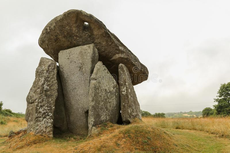 Trethevy Quoit stones Cornwall England. History, kernow. Trethevy Quoit stones near St. Cleer in Cornwall, England, is a ritual and ceremonial gathering place stock photo