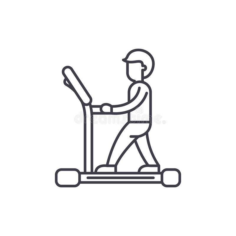 Tretmühlenlinie Ikonenkonzept Lineare Illustration des Tretmühlenvektors, Symbol, Zeichen stock abbildung