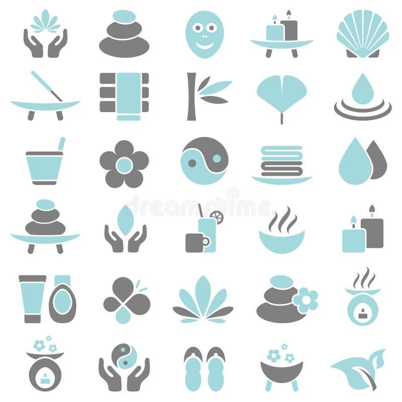 Trettio gr?a Wellnesssymboler som ?r bl?a och royaltyfri illustrationer