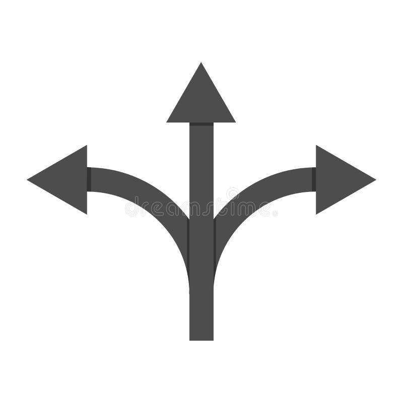 Trevägsillustration för vektor för tecken för vägriktningspil vektor illustrationer