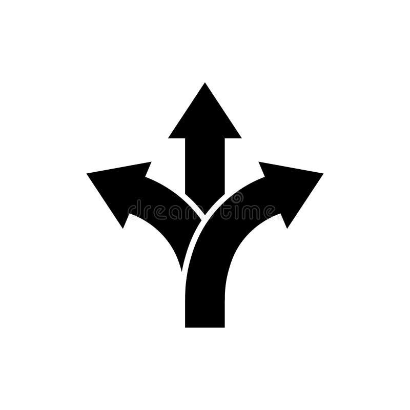Trevägstecken för riktning för väg för riktningspilsymbol royaltyfri illustrationer